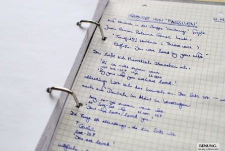 Paper notes. These are taken in German, but I more often take notes in English so I don't need to translate them.