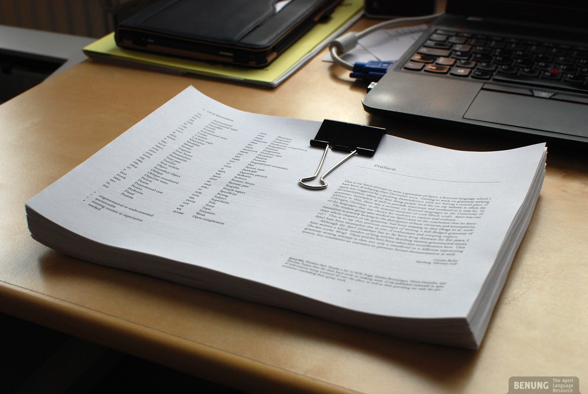 All 470-ish pages of the second draft of the new Ayeri grammar, waiting to be proofread gradually over the next weeks.